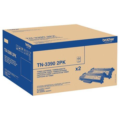 Brother Super High Yield Laser Black Toner CartridgeTN3390TWIN