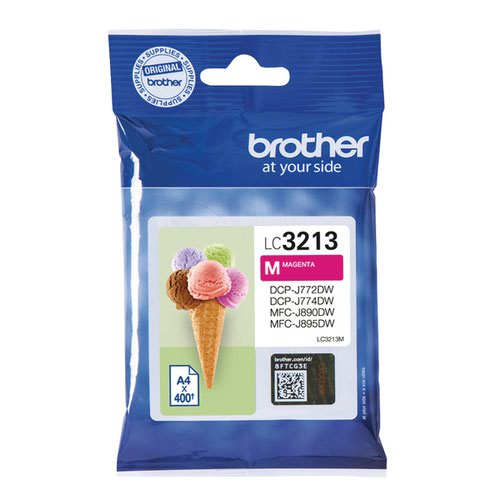 Brother Ink Cartridge High Yield Magenta (Capacity: 400 pages) LC3213M
