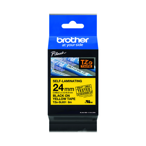 Brother P-Touch 24mm Black on Yellow Labelling Tape TZE-SL651