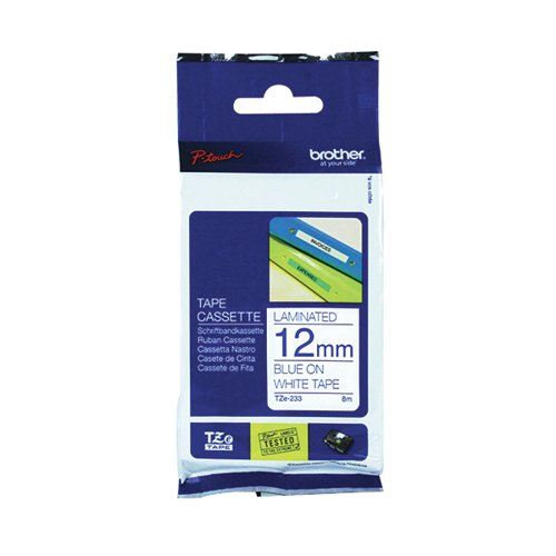 Brother P-Touch 12mm Blue on White TZE233 Labelling Tape TZE233