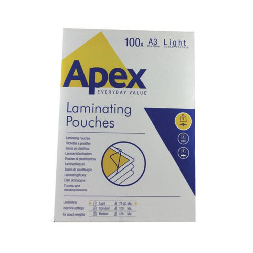 Fellowes Apex A3 Light Laminating Pouches Clear (Pack of 100) 6001901