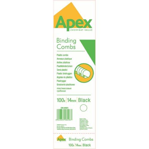 Fellowes Apex Plastic Binding Combs 14mm Black (Pack of 100) 6202101