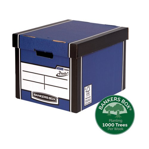 Fellowes Bankers Box Premium Presto Storage Box Blue/White (Pack of 10) 7260603
