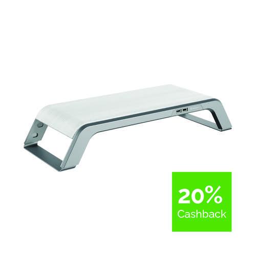 Fellowes Hana Monitor Support 230V USB EU UK Metal Base Grey