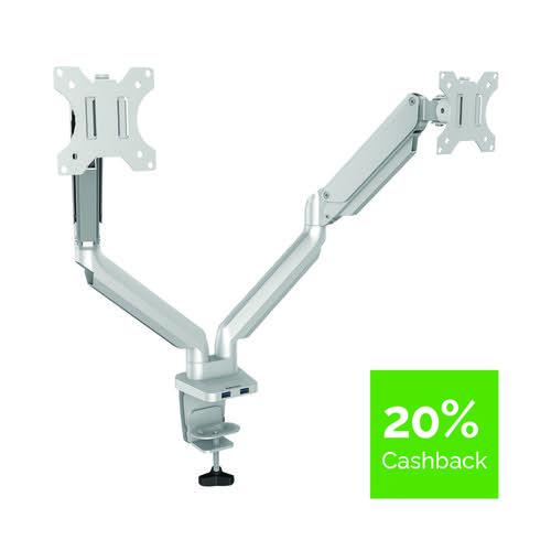 Fellowes Platinum Series Dual Monitor Arm Silver 8056501