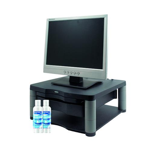 Fellowes Monitor Riser Plus Graphite FOC 2 Hand Gel