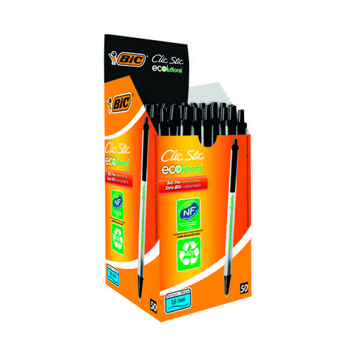 Bic Ecolutions Clic Stick Black (Pack of 50) 880