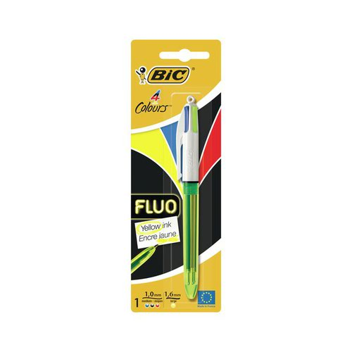 Bic 4 Colours Fluo Blister (Pack of 10) 939422