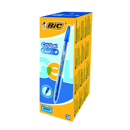 Bic Cristal Gel Plus Pen Medium Blue (Pack of 20) 8438852