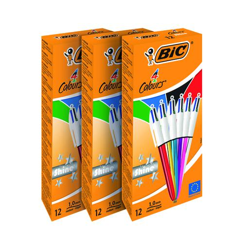 Bic 4 Colours Medium Ballpoint Pen Assorted (Pack of 12) 3 for 2 BC810753