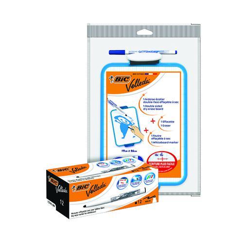 BIC Velleda 1741 Drywipe Marker Pk12 FOC Velleda Drywipe Board Blue