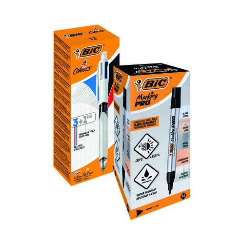 Bic 4 Colour Mech Pencil FOC Bic Permanent Markers Black (Pack of 12)