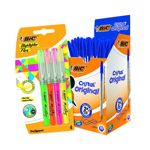 Bic Cristal Medium Blue (Pack of 50) FOC Highlighter Flex BC810758