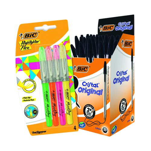 Bic Cristal Medium Black (Pack of 50) FOC Highlighter Flex BC810759