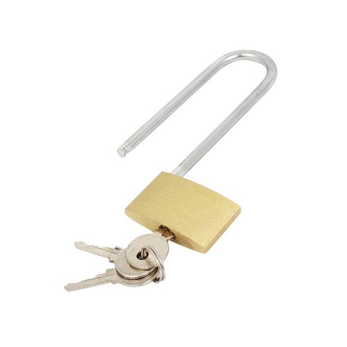 Brass Padlock Long Shackle (Shackle 60mm x 20mm, Body 40mm x 30mm) 041647