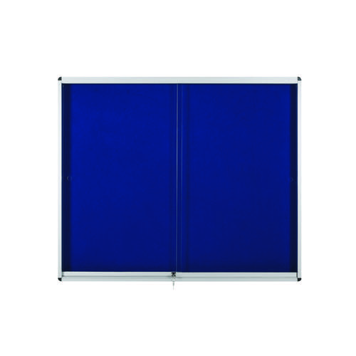 Bi-Office Lockable Internal Display Case 890x625mm Blue VT690107160 Glazed Notice Boards BQ52716