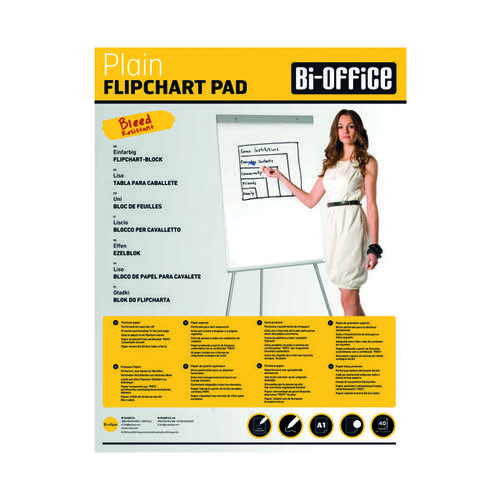 Bi-Office Plain Flipchart Pad A1 40 Sheet (Pack of 5) FL0125101