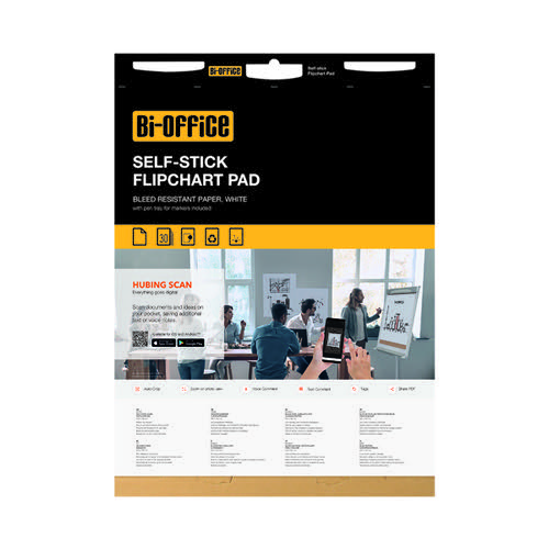 Bi-Office Self-Stick Flipchart Pad 635x762mm 30 Sheet White (Pack of 2) FL128107
