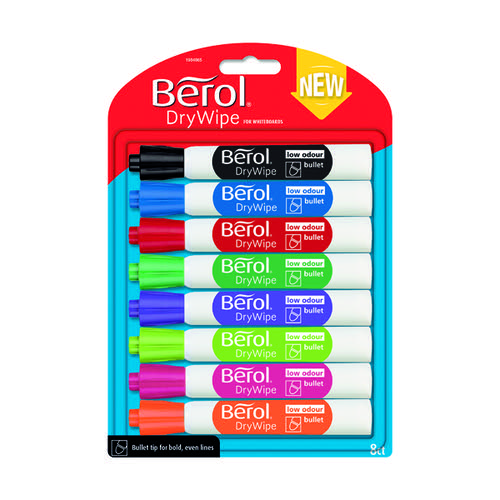 Berol Drywipe Marker Bullet Tip Assorted (Pack of 8) 1984865