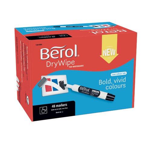 Berol Drywipe Marker Bullet Tip Black (Pack of 48) 1984868