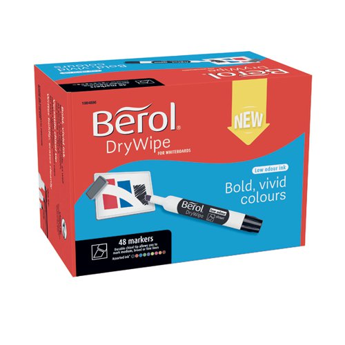Berol Drywipe Marker Chisel Tip Assorted (Pack of 48) 1984886