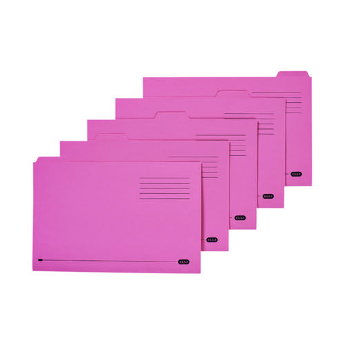 Elba 5 Tabbed Folder Manilla 250g FC Pink (Pack of 20) 100090236
