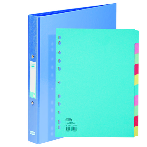 Elba Classy Ring Binder Metallic Blue FOC 10 Part Divider BX810431