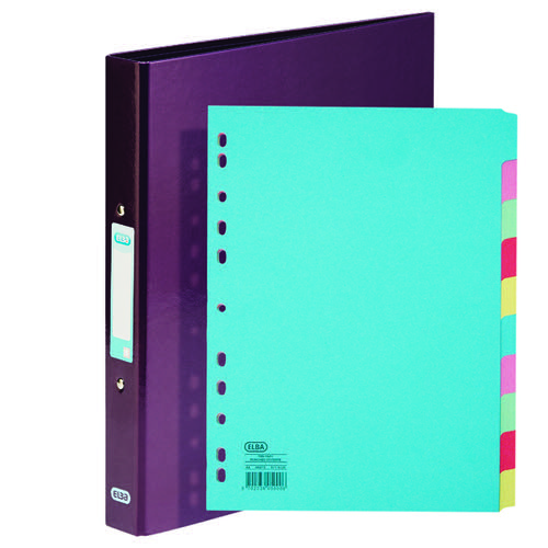 Elba Classy Ring Binder Metallic Purple FOC 10 Part Divider BX810432