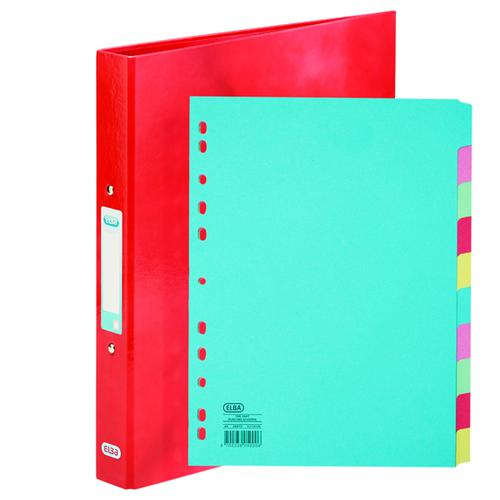 Elba Classy Ring Binder Red FOC 10 Part Divider