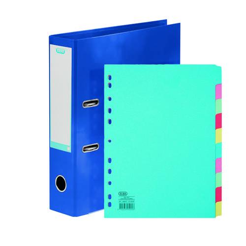 Elba Classy 70mm Lever Arch File A4 Blue FOC 10/Pt Divider BX810438