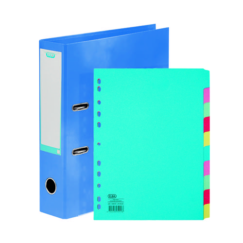 Elba Classy 70mm Lever Arch File A4 Met Blue FOC 10/Pt Divider BX810440