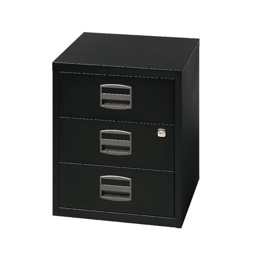 Bisley 3 Drawer Home Filing Cabinet A4 413x400x525mm Black BY33938