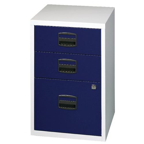 Bisley 3 Drawer Home Filer Grey/Blue PFA3-8748