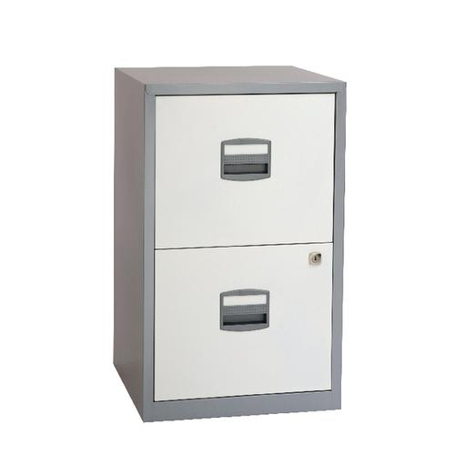 Bisley 2 Drawer A4 Home Filer Silver/White BY78731