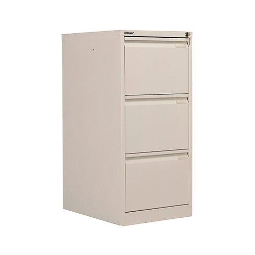 Bisley 3 Drawer Filing Cabinet Lockable 470x622x1016mm Chalk BS3E/CHK