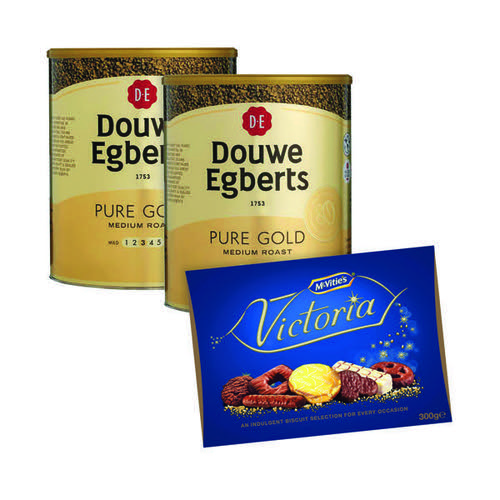 Douwe Egberts Pure Gold Continental Instant Coffee 750g FOC McVities Victoria Biscuits Carton 300g