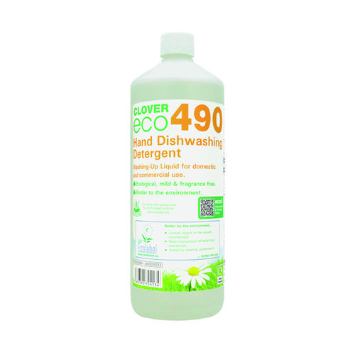 Clover ECO 490 Dishwashing Detergent 1 Litre (Pack of 12) 490