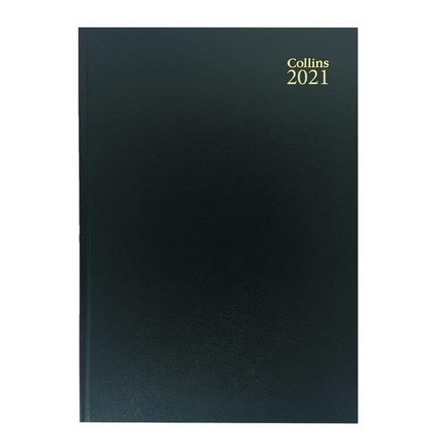 Collins Desk Diary Week to View A4 Black 2021 40