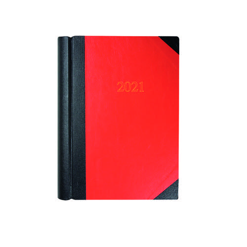 Collins Desk Diary 2 Pages Per Day A4 Black/Red 2021 42