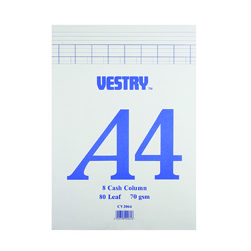 Vestry 8-Column Accountancy Pad A4 CV2064