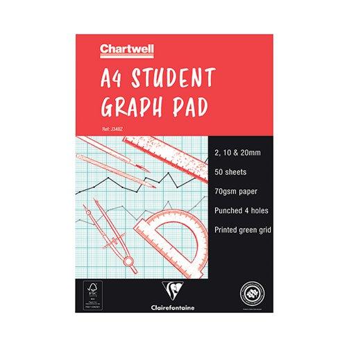 Chartwell A4 Graph Pad 50 Leaf 2/10/20mm J34B
