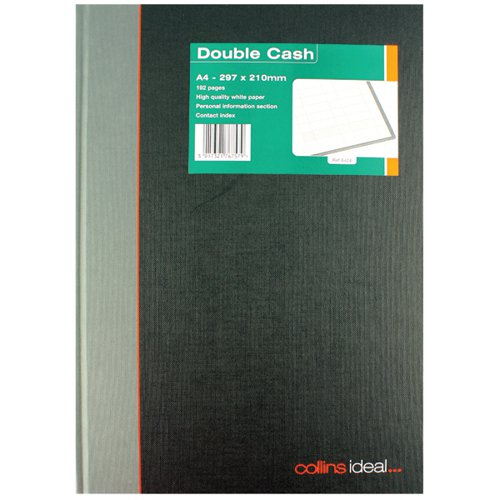 Collins Ideal A4 Book Double Cash 192 Pages (Double cashed ruling fully case bound) 6424