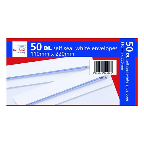 DL Self Seal Envelopes x 50 White (Pack of 20) OBS135
