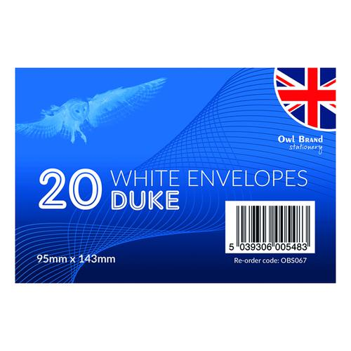 Duke Envelopes x 20 White (Pack of 24) OBS067