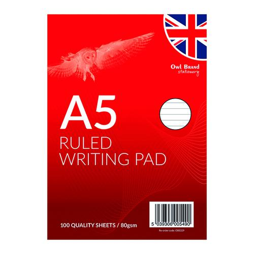 A5 Ruled Writing Pad 100 Sheets (Pack of 12) OBS329