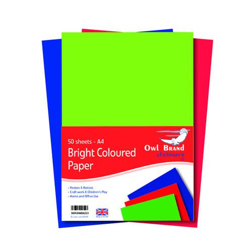 A4 Bright Coloured Paper 80gsm 50 Sheets (Pack of 10) OBS489