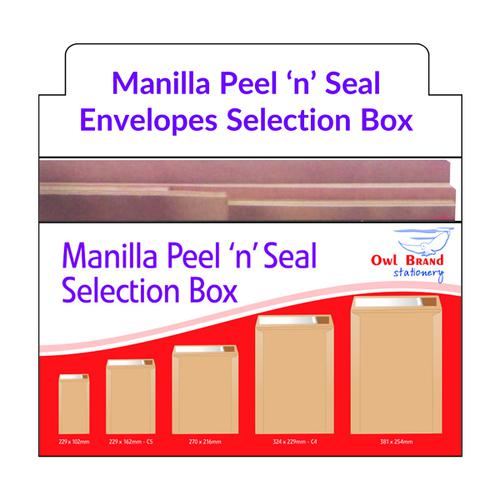 Manilla Peel n Seal Envelope Selection Box OBS166