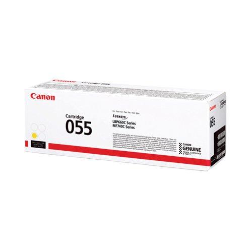 Canon 055 Laser Toner Cartridge Yellow (2100 page capacity) 3013C002