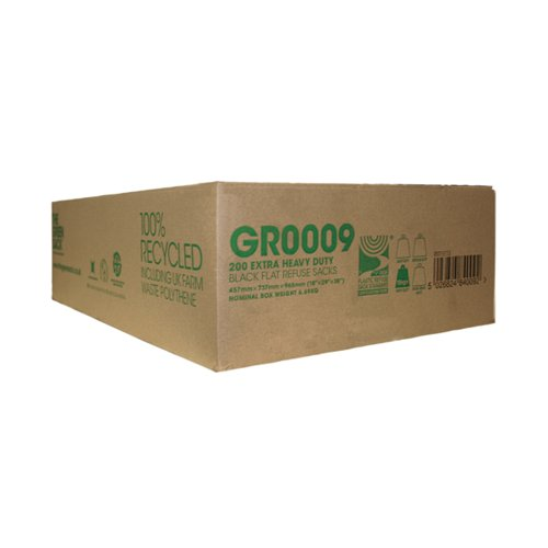 The Green Sack Extra Heavy Duty Refuse Sack Black (Pack of 200) GR0009