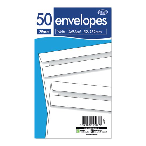 County Stationery White Self Seal Envelopes 89x152mm (Pack of 1000) C519